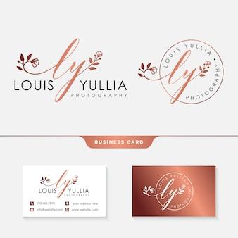 Plantilla de logotipo femenino inicial ly y tarjeta de visita