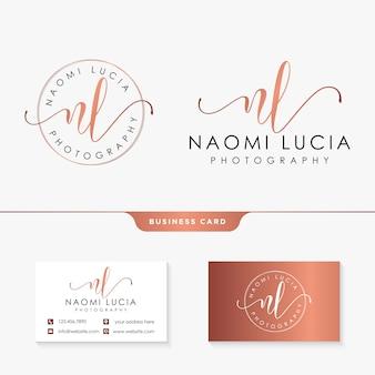 Plantilla de logotipo femenino inicial nl y tarjeta de visita
