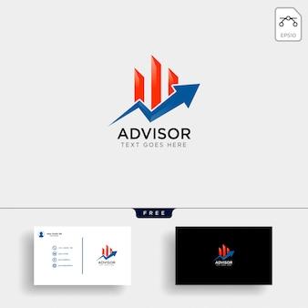 Plantilla de logotipo financiero y tarjeta de visita