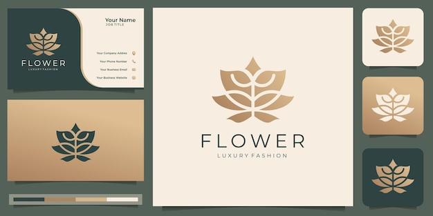 Plantilla de logotipo de flor abstracta diseño de tarjeta de visita y oro rosa de lujo vector premium