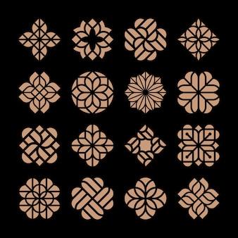 Plantilla de logotipo de flor abstracta de lujo