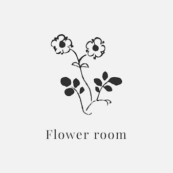 Plantilla de logotipo de flor clásica para branding en negro