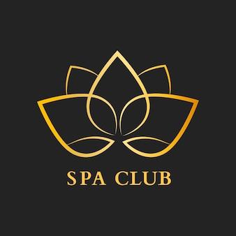 Plantilla de logotipo de flor de club de spa, vector de diseño moderno dorado