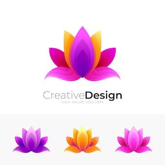 Plantilla de logotipo de flor, colorido 3d