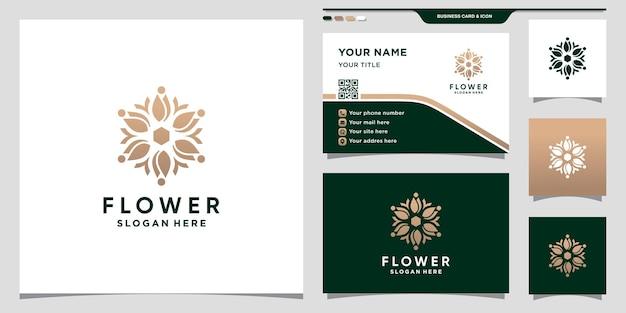 Plantilla de logotipo de flor con concepto moderno único y diseño de tarjeta de visita