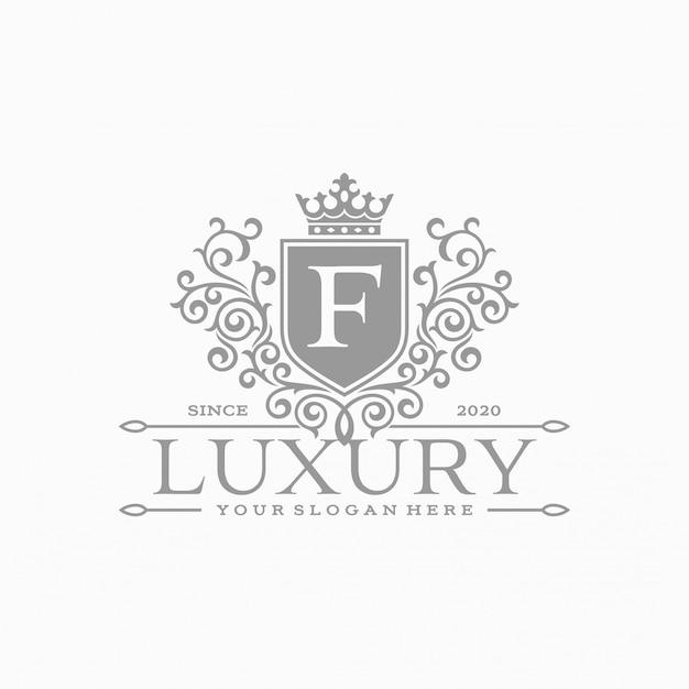 Plantilla de logotipo floral círculo heráldico de lujo en vector para restaurante, realeza, boutique, cafetería, hotel, joyería, moda y otros
