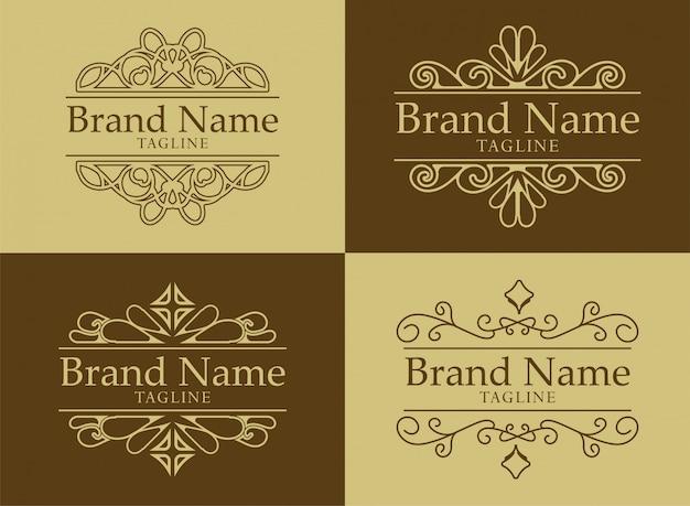 Plantilla de logotipo florece caligrafía elegante adorno líneas. rótulo comercial, identidad para restaurante, realeza, boutique, cafetería, hotel, heráldico, joyería