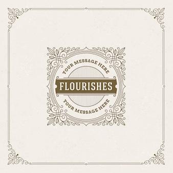 Plantilla de logotipo con florituras caligráficas elegantes marcos ornamentales.