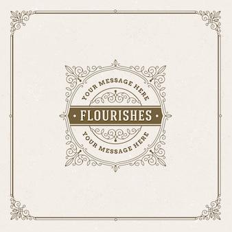 Plantilla de logotipo con florituras elementos ornamentales elegantes caligráficos.