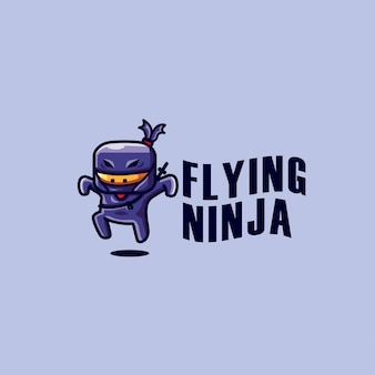 Plantilla de logotipo de flying ninja
