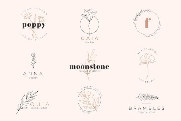 Plantilla de logotipo y fondo de color rosa pastel