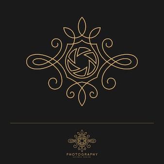 Plantilla de logotipo de fotografía de lujo elegante.