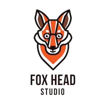 Plantilla de logotipo de fox head studio