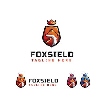 Plantilla de logotipo de fox sield