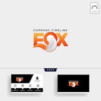 Plantilla de logotipo de fox tail y tarjeta de visita