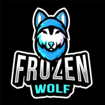 Plantilla de logotipo de frozen wolf esport