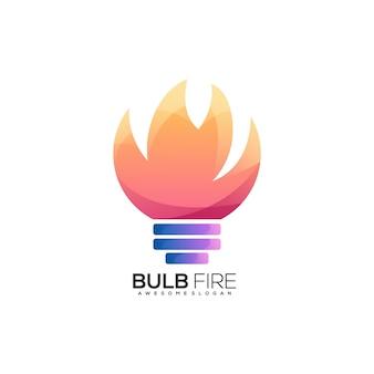 Plantilla de logotipo de fuego de bombilla