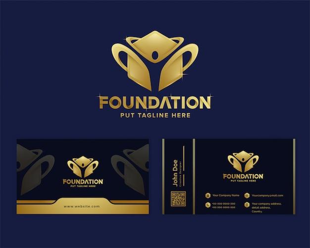 Plantilla de logotipo de fundación de lujo premium