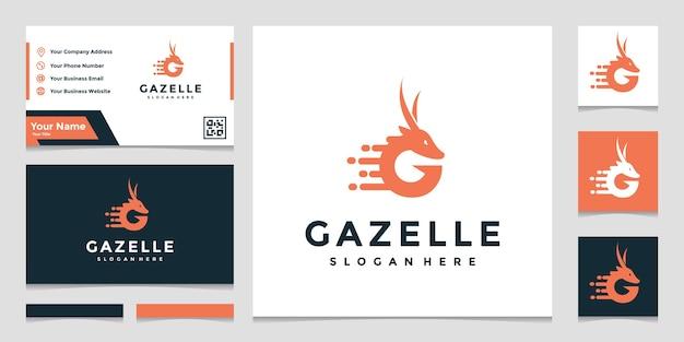 Plantilla de logotipo de gacela con tarjeta de visita