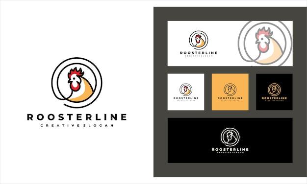 Plantilla de logotipo de ganado creativo de arte lineal de gallo