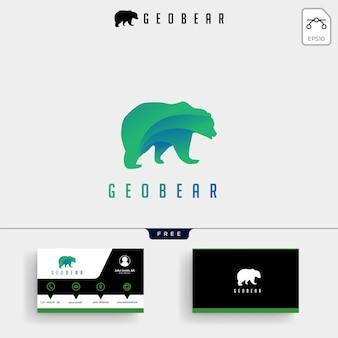 Plantilla de logotipo geométrico bear tech y tarjeta de visita.