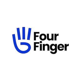 Plantilla de logotipo de gesto de mano de cuatro dedos