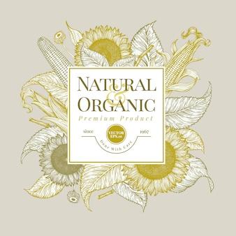 Plantilla de logotipo de girasol y maíz. diseño de banner de girasol.