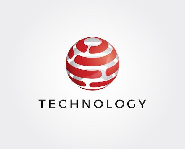 Plantilla de logotipo global 3d