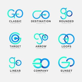 Plantilla de logotipo de go de color degradado