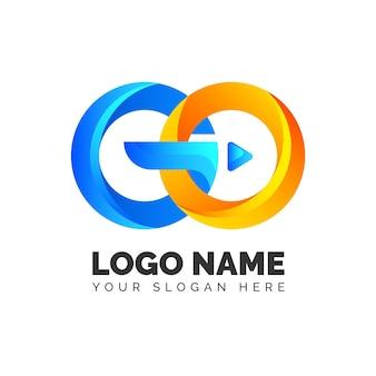 Plantilla de logotipo de go detallada