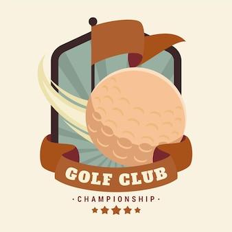 Plantilla de logotipo de golf vintage detallada