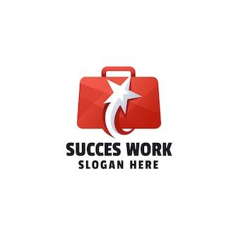 Plantilla de logotipo de gradiente de trabajo de éxito