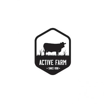 Plantilla de logotipo de granja negro