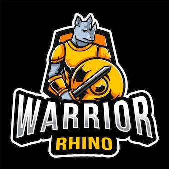 Plantilla de logotipo de guerrero rhino esport