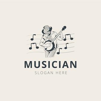 Plantilla de logotipo de guitarrista profesional