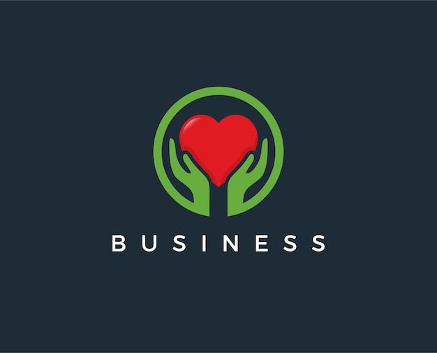 Plantilla de logotipo de hend de amor mínimo