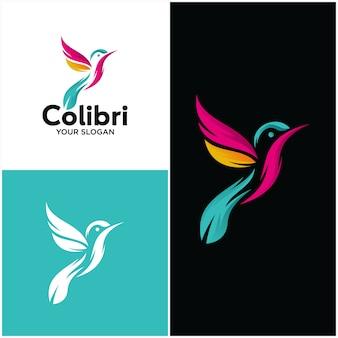 Plantilla de logotipo hermoso simple pájaro colibri