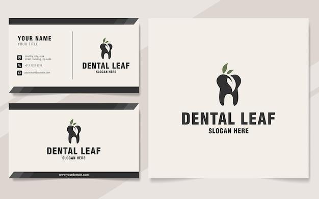 Plantilla de logotipo de hoja dental en estilo monograma