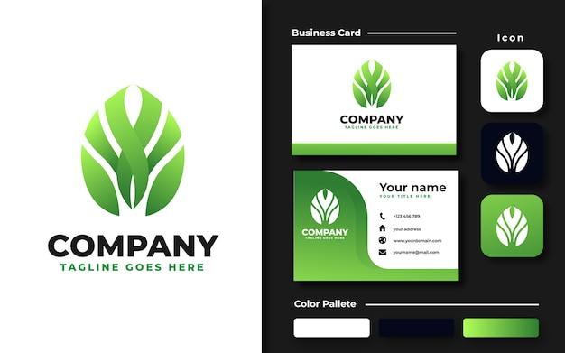 Plantilla de logotipo de hoja de monstera y tarjeta de visita