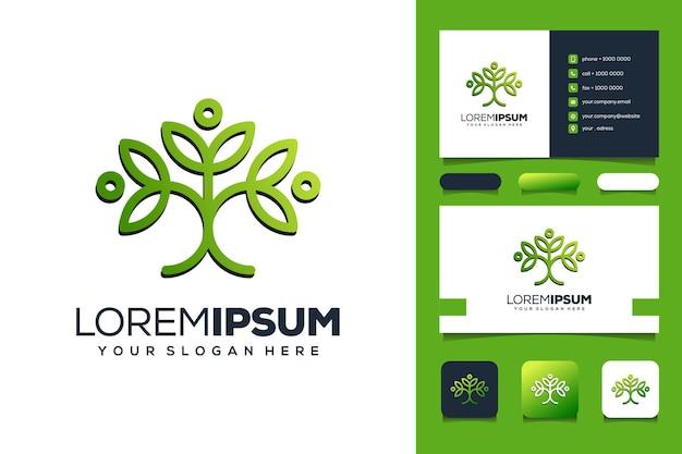Plantilla de logotipo de hoja de personas abstractas tarjeta de visita