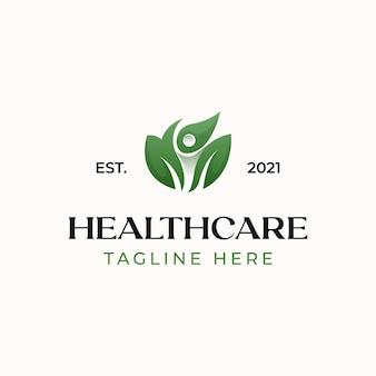 Plantilla de logotipo de hoja de personas de salud aislada en fondo blanco