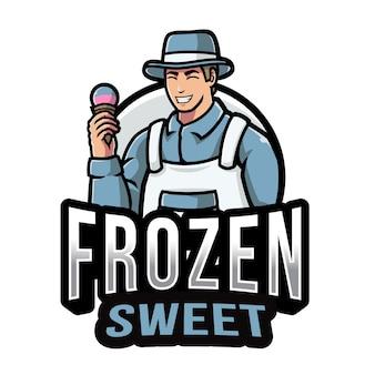 Plantilla de logotipo de hombre de helado
