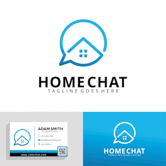 Plantilla de logotipo de home chat