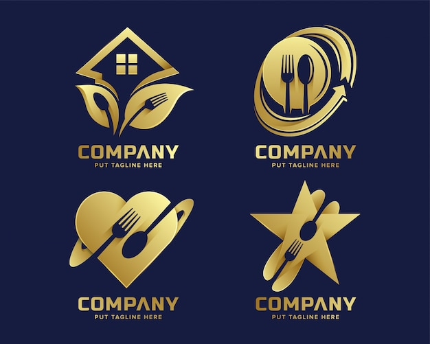 Plantilla de logotipo de horquilla creativa con color dorado