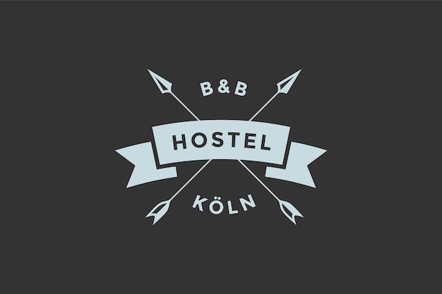 Plantilla de logotipo para hostal u hotel en estilo retro vintage.