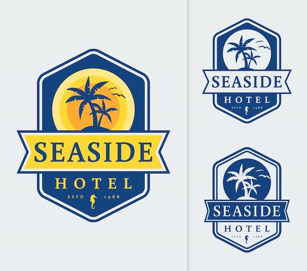 Plantilla de logotipo de hotel de playa.