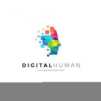 Plantilla de logotipo humano digital