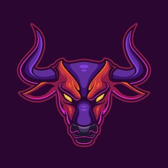 Plantilla de logotipo de icono de personaje de cabeza de toro