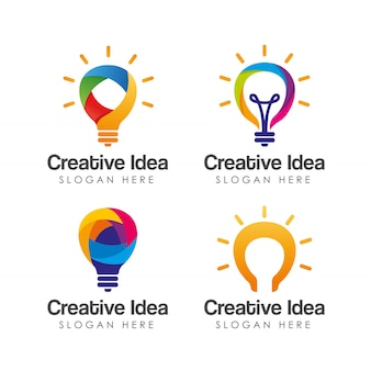 Plantilla de logotipo de idea creativa colorida.