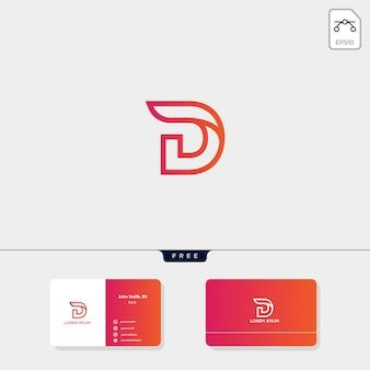Plantilla de logotipo inicial d, plantilla de diseño de tarjeta de presentación incluye